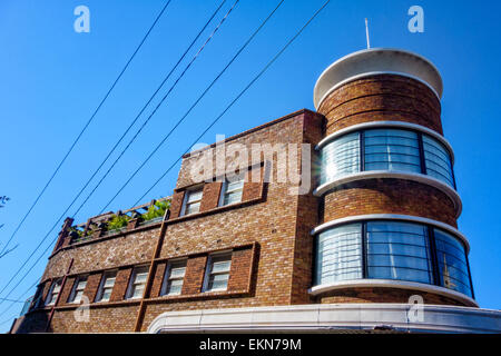 The tower-like building with almost cylindrical windows is particularly striking! Art deco architecture, Sydney, - Stock Image