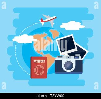 global map with passport and camera with photos vector illustration - Stock Image