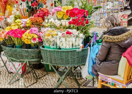 Flower Seller Lisbon Portugal - Stock Image