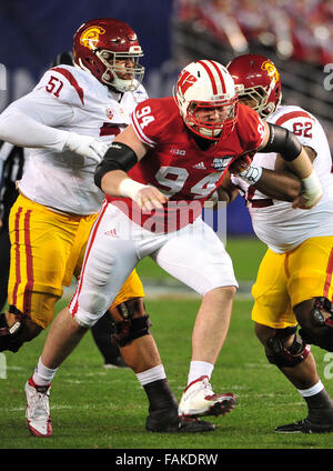 December 19, 2015. Conor Sheehy #94 of Wisconsin in action during the 2015 National Education Holiday Bowl between - Stock Image