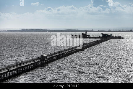 Southend Pier with the Isle of Sheppey in the background. - Stock Image