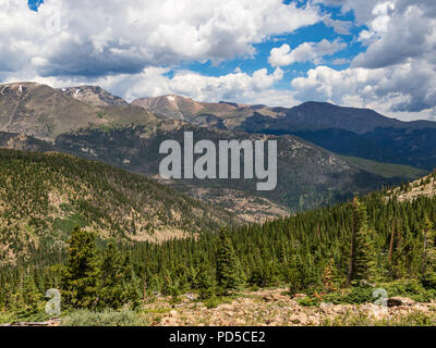 Sunny, evergreen foreground with overlapping Colorado Rocky Mountains beyond.  Dark clouds, but a hint of blue sky.  Good for background, text. - Stock Image