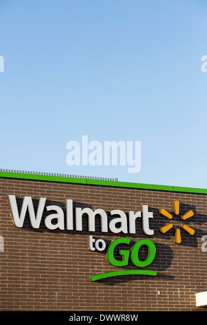 The sign on the outside of the new Walmart To Go concept convenience store in Bentonville, AR, USA. - Stock Image