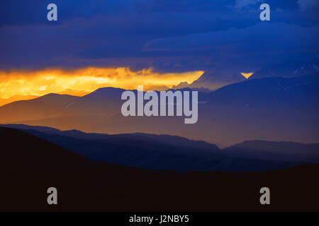 Beautiful landscape with sunset mountains - Stock Image