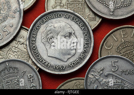 Coins of Spain. Spanish dictator Francisco Franco depicted in the Spanish 25 peseta coin (1957). - Stock Image