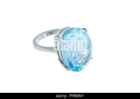 Gem Topaz Blue Set Ring 24.64 Carats, 20X15mm Centre Stone - Stock Image
