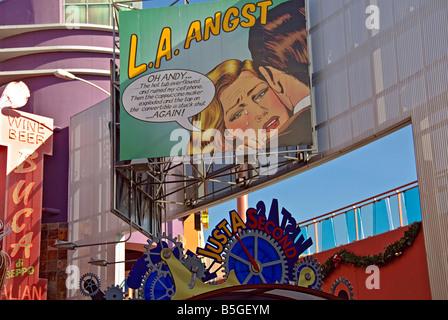 LA California Los Angeles CA Universal City Walk Citywalk LA Angst Billboard sign holiday holidays travel us usa - Stock Image