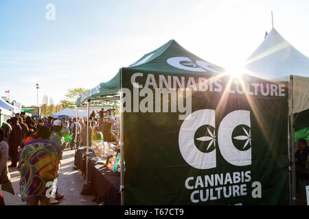 VANCOUVER, BC, CANADA - APR 20, 2019: The Cannabis Culture tent setup at the 420 festival in Vancouver. - Stock Image