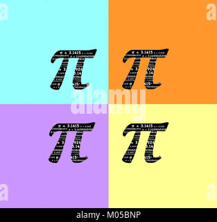 Pi symbol with the sum formula π = 3.141592653 etc inside the symbol to celebrate Pi Day and for math - Stock Image
