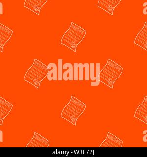 Marijuana recipe pattern vector orange - Stock Image