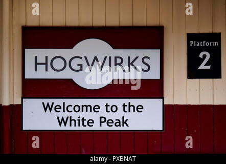 Hogwirks Wirksworth becomes Hogsmeade for the day as this town in the Peak District's hidden gem celebrates all things Harry Potter on 20 October 2018 - Stock Image