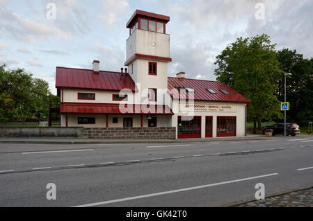 Old Fire station in Orissaare currently serves as a hostel and a cafe. Orissaare,Island Saaremaa, Estonia - Stock Image