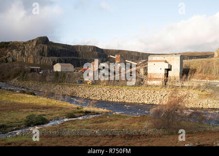 CEMEX Forcegarth Quarry where the Blea Beck enters the Tees, near Middleton in Teesdale, Co. Durham, England, UK - Stock Image