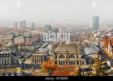 November 2015, cityscape of Zurich (Switzerland), HDR-technique - Stock Image