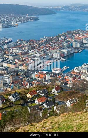 City view from Mount Fløyen Bergen Norway - Stock Image