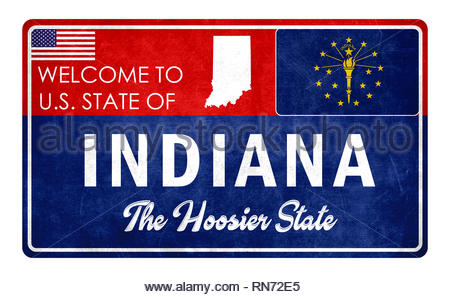 Welcome to Indiana - grunde sign - Stock Image