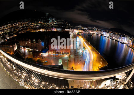 Balcony view over Bergen city centre, Norway. - Stock Image