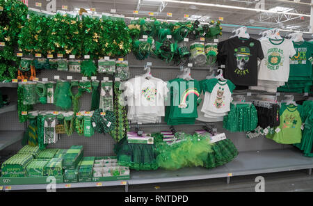 St Patricks Day items for sale in a store a month before the popular celebration. - Stock Image