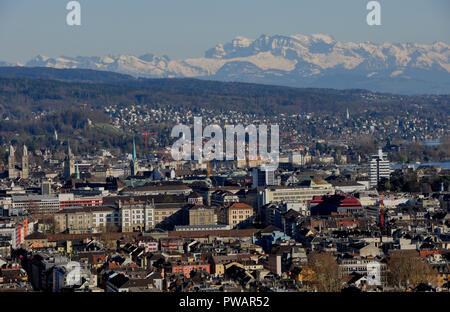Switzerland: Panoramic view of Zürich-City from Switzerlands highest skyscraper - Stock Image