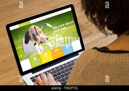 pet website on a laptop screen. Screen graphics are made up. - Stock Image