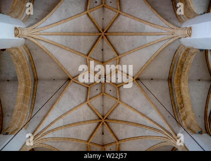Munich, Bavaria, Germany - May 29, 2019. Ceiling of Frauenkirche viewed from below illustrating gothic style and stunning symmetry - Stock Image