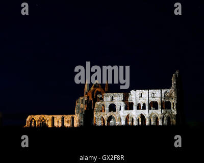 Whitby Abbey at night Esk Valley North Yorkshire Moors England United Kingdom UK Great Britain GB Steam & heritage - Stock Image