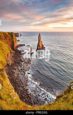 Sunrise at Stacks of Duncansby, Duncansby Head, Caithness, Scotland, UK - Stock Image