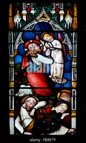 East window by Lavers, Berraud and Westlake, depicting Jesus in the Garden of Gethsemane, St Peter's Church, - Stock Image