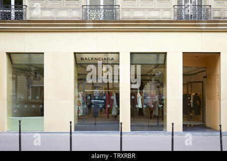 PARIS, FRANCE - JULY 22, 2017: Balenciaga fashion luxury store in avenue George V in Paris, France. - Stock Image