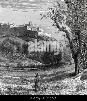 Cityscape of Bethlehem, West Bank, Palestinian autonomy area, historic engraving from 19th Century, Stadtansicht - Stock Image