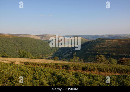 Horseshoe Pass or Bwlch yr Oernant in Llantysilio above Llangollen on the A542 route to Ruthin the pass rises to 1400 feet - Stock Image