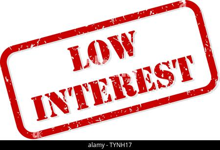Low interest red rubber stamp vector isolated - Stock Image