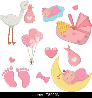 set of newborn baby elements baby sleeping, stork, feetmark and cradle vector illustration graphic design - Stock Image