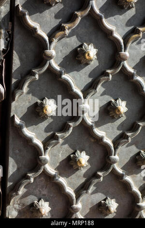 Detail of a door Jama Masjid Mosque, Old Delhi, Delhi, India - Stock Image