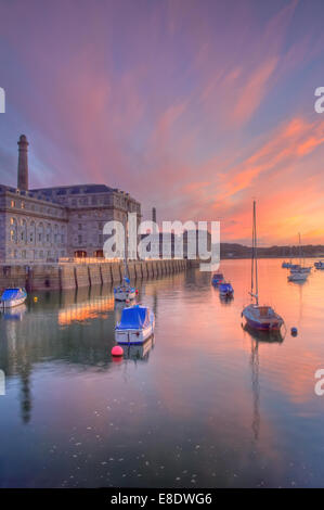 Afterglow light  above the Royal William Yard in Plymouth, Devon - a few minutes after sunset - Stock Image