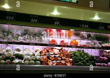 Produce section of a supermarket, Naguabo, Puerto Rico, USA - Stock Image