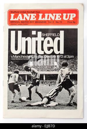 Vintage 1970's English Football Programme Sheffield United v Manchester City - Stock Image