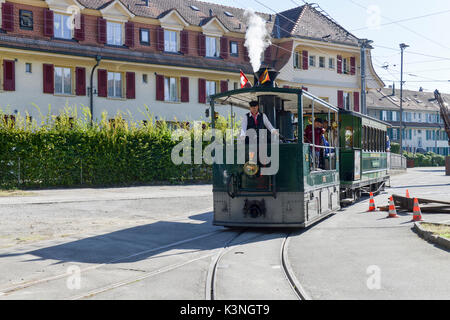 Bern Steam Tram Charter at Brunnadernstrasse Depot -1 - Stock Image