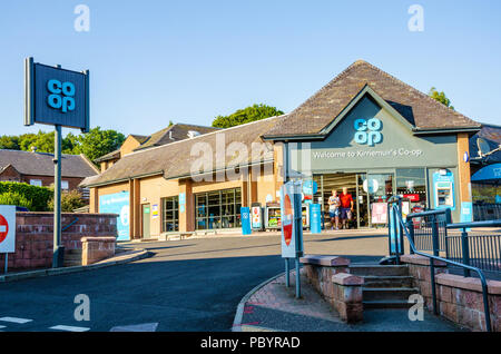 A view of the front of the Coop supermarket in Kirriemuir in Scotland, UK. - Stock Image
