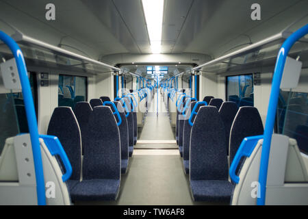 Empty train carriage. Train was travelling from London Kings Cross to Hertford (UK) - Stock Image