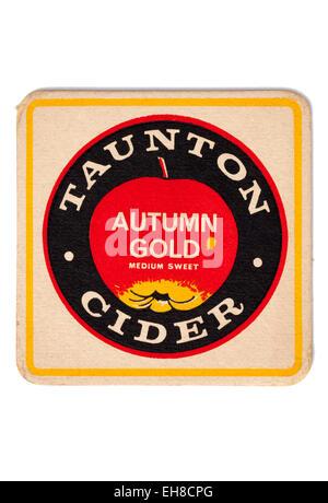 Vintage Beermat Advertising Autumn Gold Taunton Cider - Stock Image