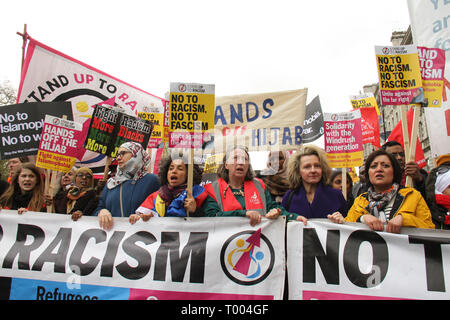 London, UK - 16 March 2019: Thousands of people took part in the UN Anti-Racism Day demonstration that took place in central London on 16 March. The demonstration which began in Park Lank and ended outside Downing Street was organised by Stand Up to Racism and Love Music Hate Racism and supported by the TUC and UNISON. Photo: David Mbiyu - Stock Image