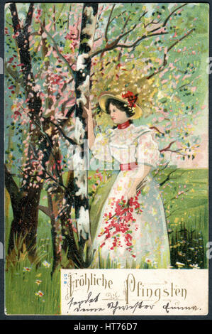 GERMANY - CIRCA 1904: A postcard printed in Germany, shows a beautiful woman in a dress and hat with flowers. The - Stock Image