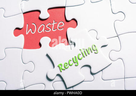 The Words Waste And Recycling In Missing Piece Jigsaw Puzzle - Stock Image