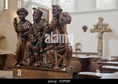 France, Yonne, Montreal, Notre Dame Collegiate Church, Church Stalls, Group in the round representing The Adoration of the Magi - Stock Image