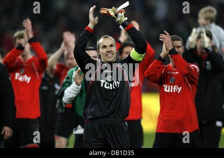Goalkeeper Robert Enke (C) of Hanover celebrates the victory after the Bundesliga match Hanover 96 vs Werder Bremen - Stock Image