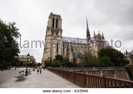 Notre Dame de Paris on the outside and inside. Travel through Europe. Attractions in France. - Stock Image