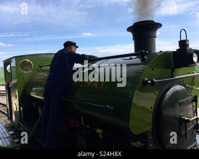 One man and his steam engine - Stock Image