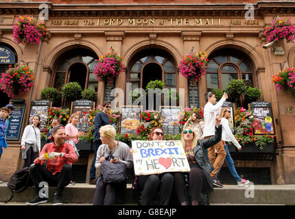 London, UK , 2 July 2016: Protesters on the March for Europe demonstration voicing their support for Parliament - Stock Image