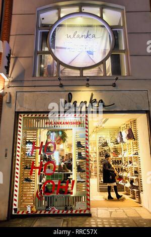 ulanka shoe shop on Oxford Street, London, England, UK - Stock Image